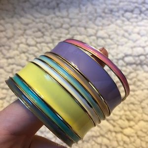 Colorful, gold backed bangles